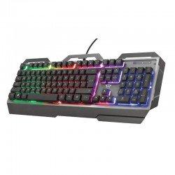 Teclado metálico trust gaming gxt 856 torac - 12 teclas multimedia acceso directo - retroiluminación - 8 teclas anti-ghosting -