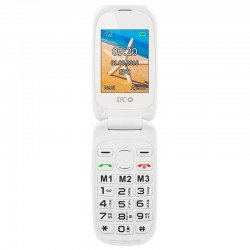 Teléfono móvil libre spc harmony blanco - doble pantalla - teclas grandes - dual sim - cámara - tecla sos - bat litio - base