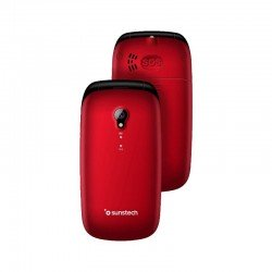 Teléfono móvil sunstech celt17 red - pantalla lcd 2.4'/6.09cm - agenda 300 contactos - botón sos - cámara trasera - fm - bt -