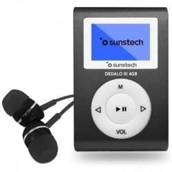 Reproductor mp3 sunstech dedaloiii 4gb black - pantalla 2.79cm - fm 20 presintonias - grabadora radio/voz - batería - clip
