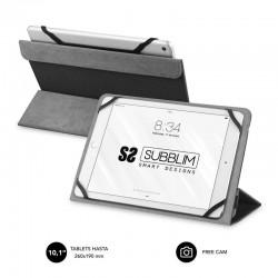 Funda universal subblim freecam para tablet hasta 10.1'/25.6cm black - interior aterciopelado - trasera plegable para usar