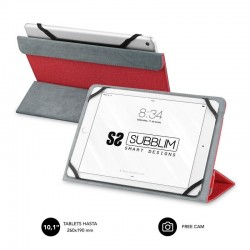 Funda universal subblim freecam para tablet hasta 10.1'/25.6cm red - interior aterciopelado - trasera plegable para usar cámara