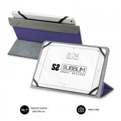 Funda universal subblim freecam para tablet hasta 10.1'/25.6cm purple - interior aterciopelado - trasera plegable para usar