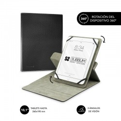 Funda universal subblim rotate 360º para tablet hasta 10.1'/25.6cm black - rotación 360º - interior aterciopelado - sistema