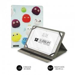 Funda universal subblim trendy furry para tablet hasta 10.1'/25.6cm - exterior símil piel - interior aterciopelado - cierre