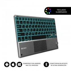 Teclado bluetooth subblim smbt51 con touchpad smart blacklit grey - bt 3.0 - teclas iluminadas - batería 420mah - compatible