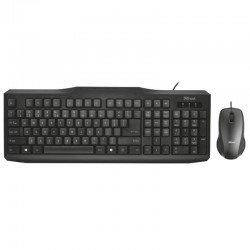 Teclado y ratón trust classicline - teclado cable 1.8m - ratón sensor óptico - diseño ambidiestro - cable 1.8m