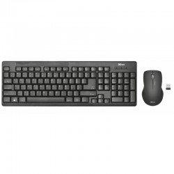 Teclado y ratón inalámbricos trust ziva - teclado completo en español - sensor óptico 1600 ppp - valido diestros y zurdos -