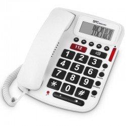 Teléfono sobremesa spc telecom 3293 compatible audífonos id llamadas manos libres blanco