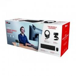 Pack 4 en 1 trust qoby home office set - webcam hd 720p - teclado inalámbrico - ratón inalámbrico - auriculares con micrófono