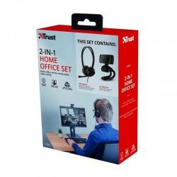 Pack 2 en 1 trust doba home office set - webcam hd 720p - auriculares con micrófono ajustable - conexión usb