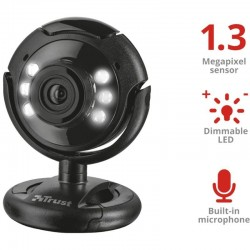 Webcam trust spotlight pro - 1.3mpx - luces led regulables - micrófono - pedestal pantallas / superficies planas - usb
