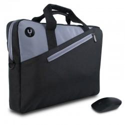 Maletín + ratón inalámbrico monray master kit black - para portátiles hasta 15.6'/39.6cm - 2 compartimentos / ratón inalámbrico